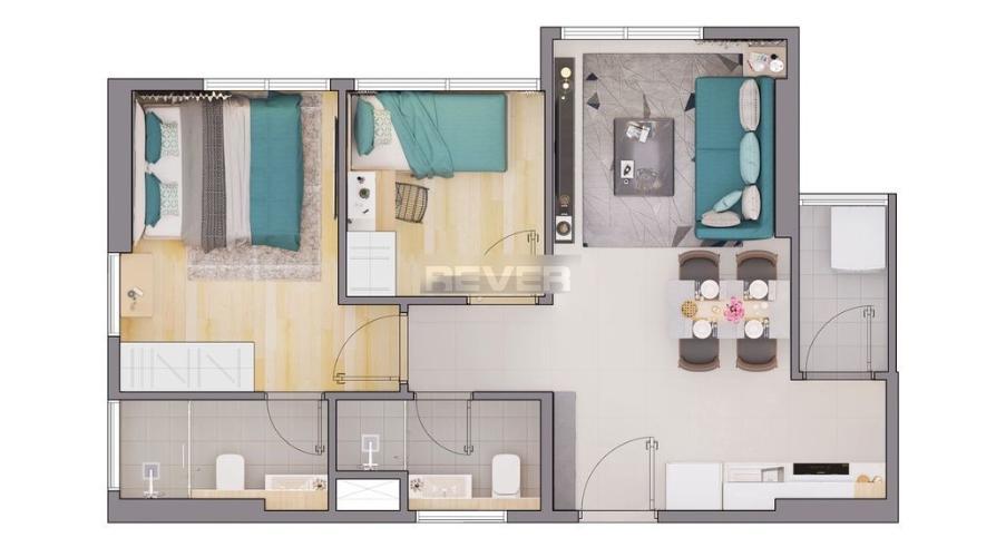 Căn hộ CitiAlto tầng thấp, nội thất cơ bản, 2 phòng ngủ.