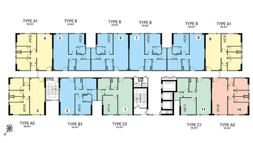Layout tầng căn hộ Citi Esto, Quận 2 Căn hộ tầng 9 Citi Esto ban công rộng rãi thoáng mát, nội thất cơ bản.