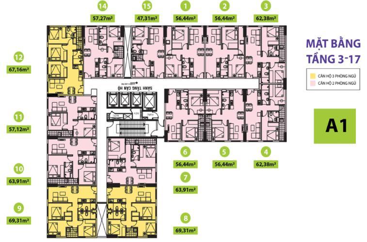 Mặt bằng block A1 Căn hộ Topaz Home 2 tầng thấp, bàn giao nội thất cơ bản.