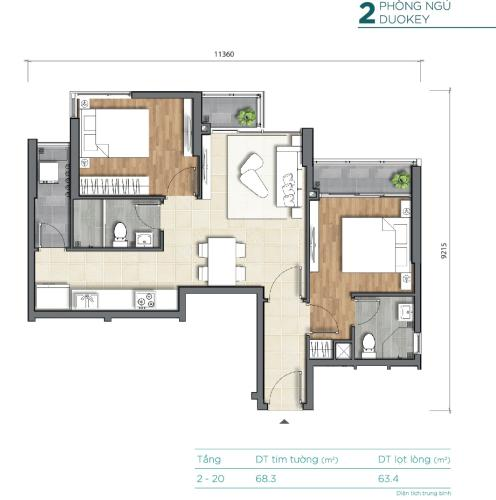 Căn hộ D'Lusso tầng 2 thiết kế kỹ lưỡng, đầy đủ tiện ích.