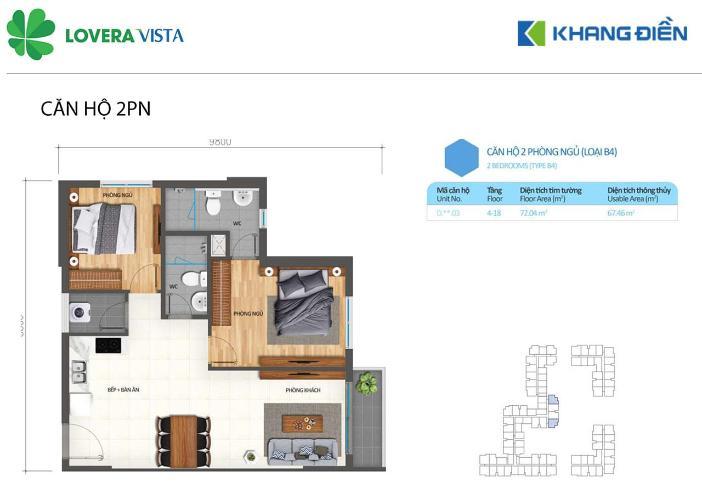 Căn hộ Lovera Vista hướng Đông Nam, nội thất cơ bản.