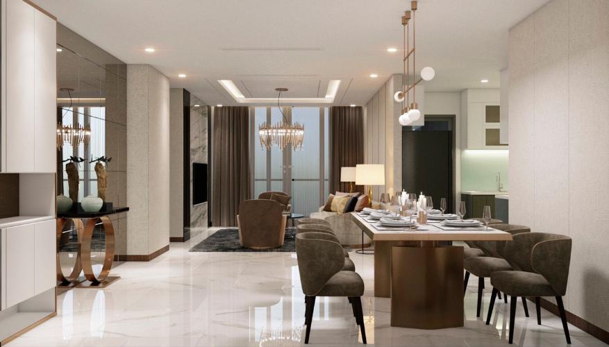 Căn hộ 4 phòng ngủ Vinhomes Central Park tầng cao, đầy đủ nội thất.