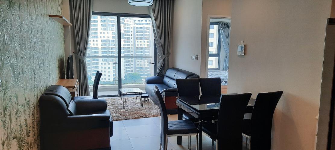 Không gian phòng khách và phòng ăn Căn hộ 1 phòng ngủ Đảo Kim Cương view ngắm thành phố.