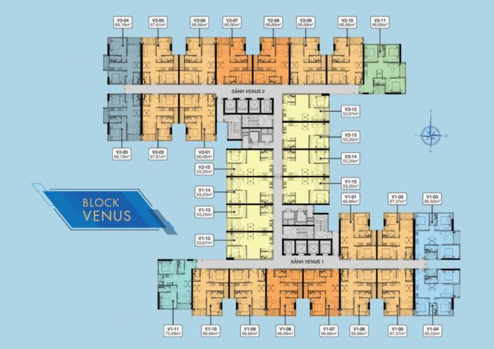 Mặt bằng block Venus Căn hộ Q7 Saigon Riverside tầng cao, hoàn thiện cơ bản