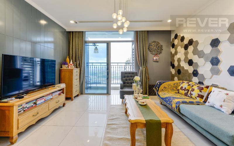 phòng khách Căn hộ Vinhomes Central Park tầng cao Central 1 đầy đủ tiện nghi