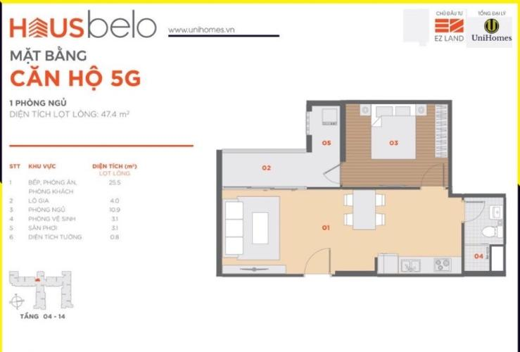 Căn hộ tầng 4 Hausbelo diện tích 48m2 tiện ích đầy đủ, nội thất cơ bản.