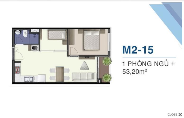 Bán căn hộ Q7 Saigon Riverside tầng thấp 1 tầng ngủ, view đường phố.