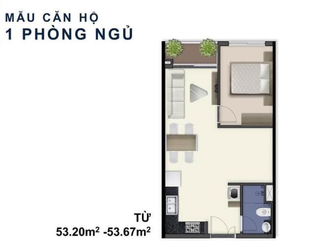 Căn hộ Q7 Saigon Riverside tầng cao diện tích 53m2, nội thất cơ bản.