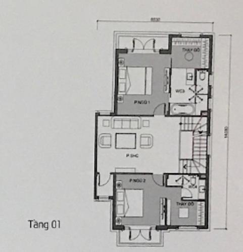mặt bằng tầng 1 Biệt thự Vinhomes Golden River diện tích 225m2, không nội thất.