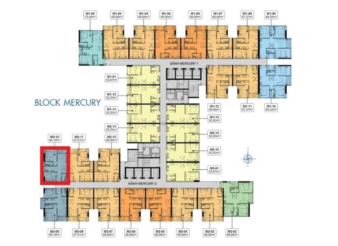 Layout tầng Q7 Saigon Riverside Bán căn hộ tầng cao Q7 Saigon Riverisde, ban công hướng Tây Bắc.
