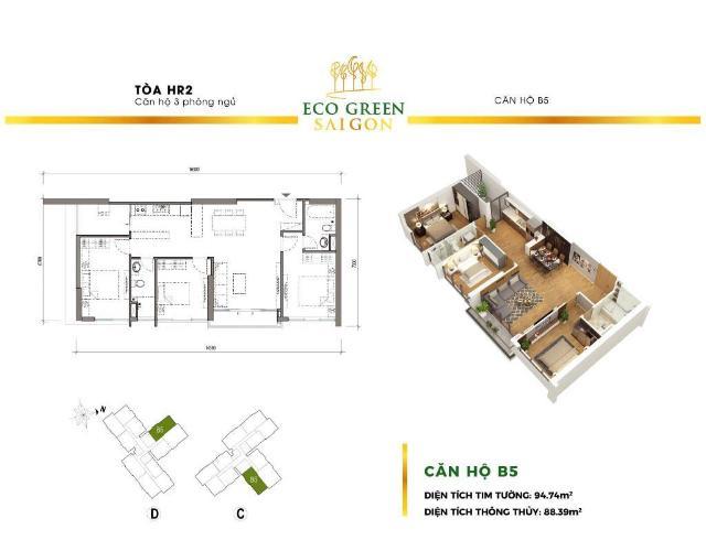 Căn hộ Eco Green Saigon thiết kế hiện đại, mặt tiền đường Nguyễn Văn Linh.