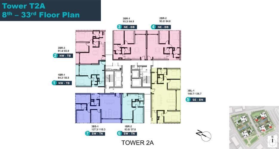 Layout căn hộ Empire City, Quận 2 Căn hộ tầng 27 Empire City đầy đủ nội thất, ban công hướng Đông Bắc.