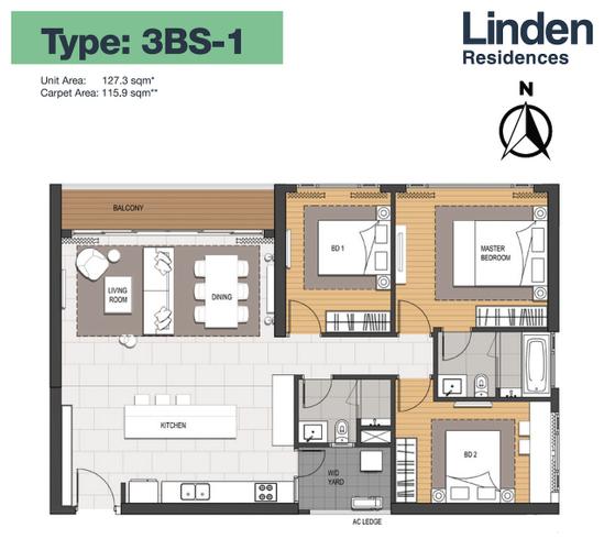 Căn hộ Empire City tầng 11 thiết kế 3 phòng ngủ, nội thất cơ bản.