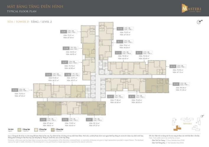 layout tháp D dự án Masteri Centre Point quận 9 Căn hộ Masteri Centre Point tầng trung, ban công hướng Đông Nam.