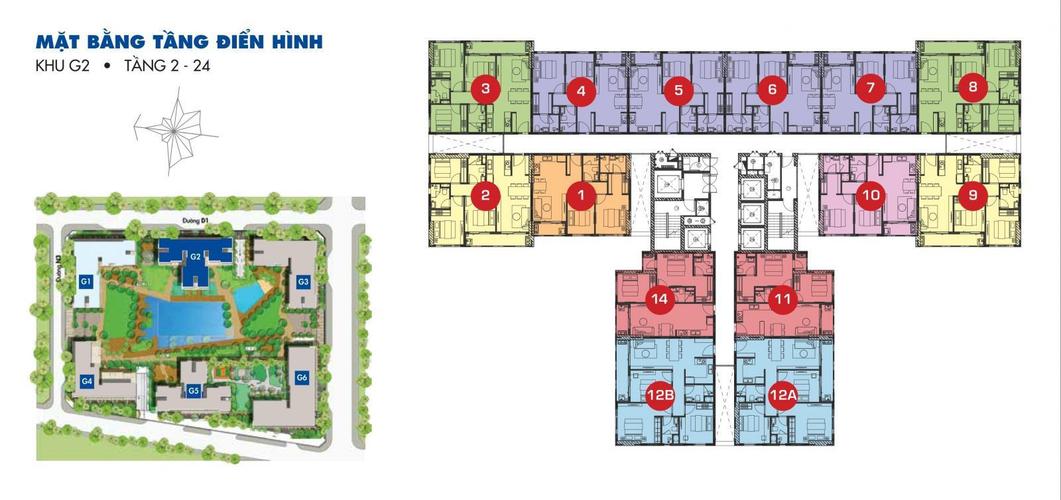 Mặt bằng block D Căn hộ Sunrise Riverside tầng 20 diện tích 70.34m2, đầy đủ nội thất.