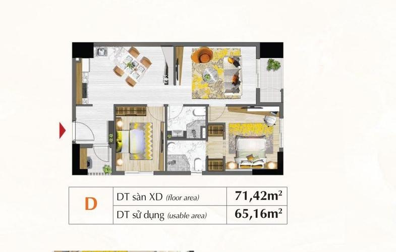Mặt bằng căn hộ Căn hộ tầng 19 Saigon South Residence có 2 phòng ngủ, đầy đủ nội thất.