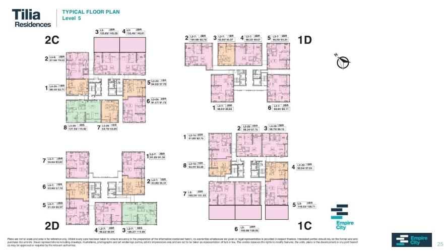 Layout tầng căn hộ Empire City, Quận 2 Căn hộ Empire City tầng 5 thiết kế 2 phòng ngủ, không gian thoáng đãng.