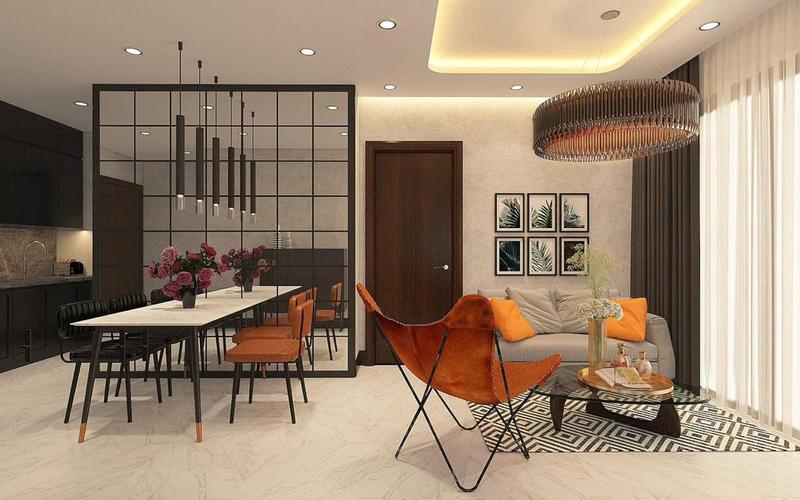 Căn hộ Empire City tầng 25 có 1 phòng ngủ, bàn giao đầy đủ nội thất.