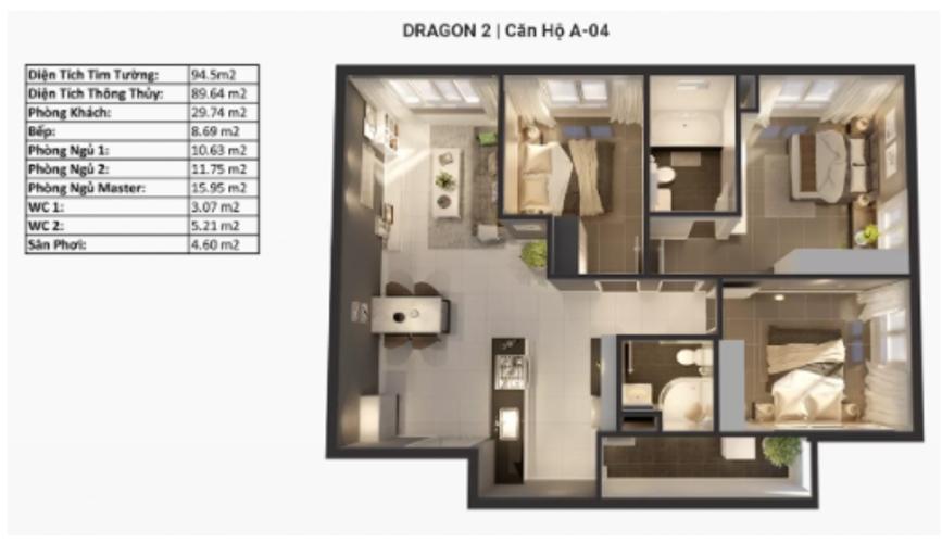 Layout căn hộ Topaz Elite, Quận 8 Căn hộ Topaz Elite tầng 12 có 3 phòng ngủ, bàn giao không có nội thất.