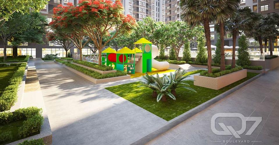 tiện ích công viên căn hộ Q7 Boulevard Căn hộ Q7 Boulevard nội thất cơ bản, view hồ bơi nội khu.
