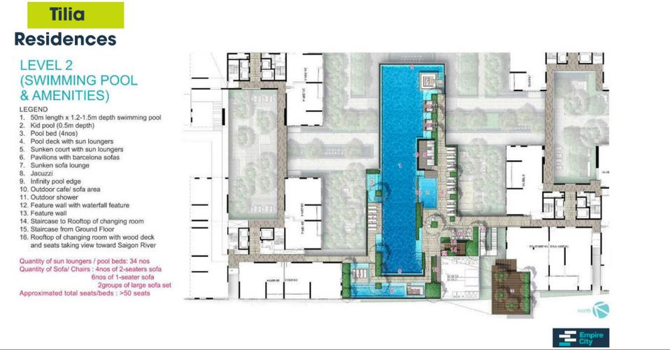 Tiện ích căn hộ Empire City, Quận 2 Căn hộ Empire City tầng 20 thiết kế 2 phòng ngủ, đầy đủ nội thất.