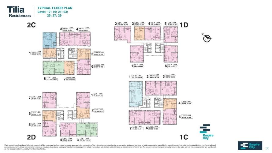 Mặt bằng chung căn hộ Empire City, Quận 2 Căn hộ Empire City tầng 21 diện tích 154.33m2, cửa hướng Đông Nam.
