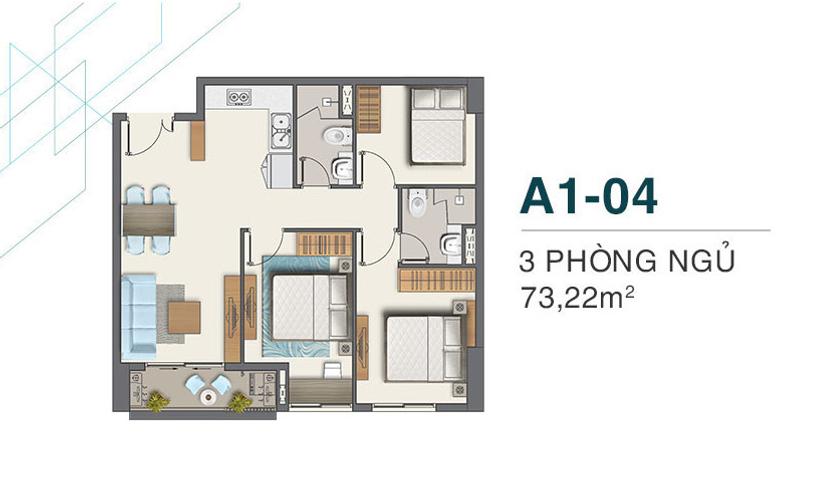 Căn hộ Q7 Boulevard tầng 9 thiết kế 3 phòng ngủ, nội thất cơ bản.