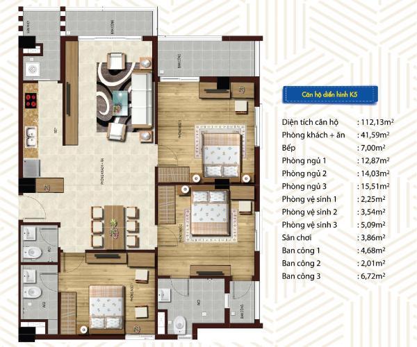 Căn hộ Blue Sky Tower tầng 12A có 3 phòng ngủ, bàn giao nội thất cơ bản.