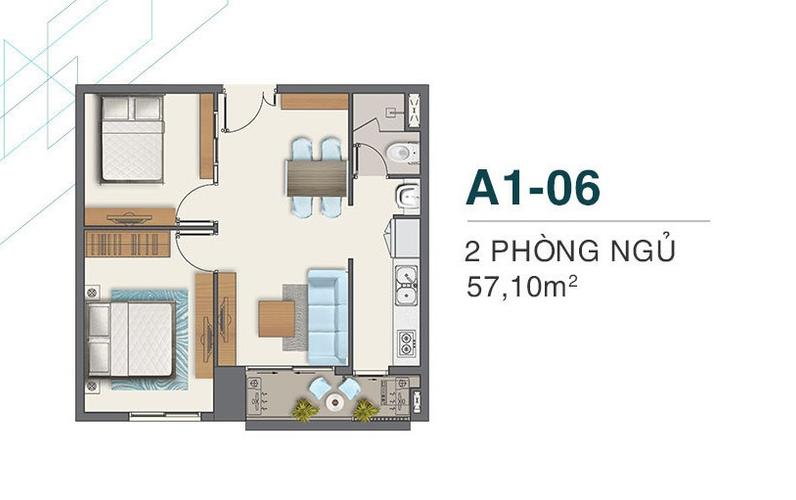 Layout Căn hộ Q7 Boulevard, Quận 7 Căn hộ Q7 Boulevard tầng 10 thiết kế 2 phòng ngủ, bàn giao nội thất cơ bản.