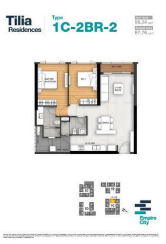 Căn hộ Empire City tầng 18 cửa hướng Tây nam, ban công rộng rãi thoáng mát.