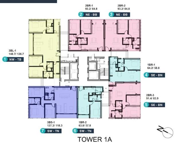 Mặt bằng chung căn hộ Empire City, Quận 2 Căn hộ Empire City tầng 19 diện tích 127.3m2, bàn giao đầy đủ nội thất.