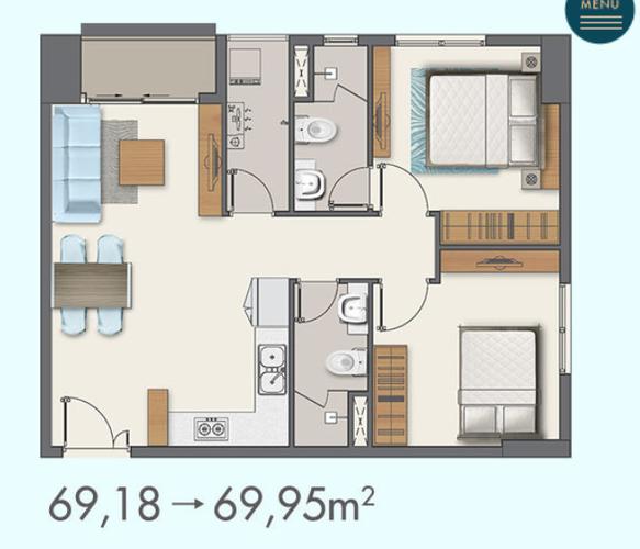 Layout căn hộ Q7 Boulevard, Quận 7 Căn hộ Q7 Boulevard tầng 15 không có nội thất, cửa hướng Tây Nam.