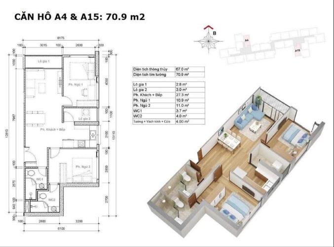 Căn hộ Eco Green Saigon tầng 8 diện tích 70m2, bàn giao nội thất cơ bản.