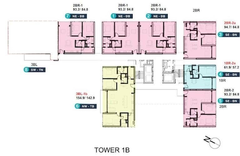 Layout căn hộ Empire City, Quận 2 Căn hộ Empire City tầng 7 diện tích 93.2m2, không gian thoáng đãng.