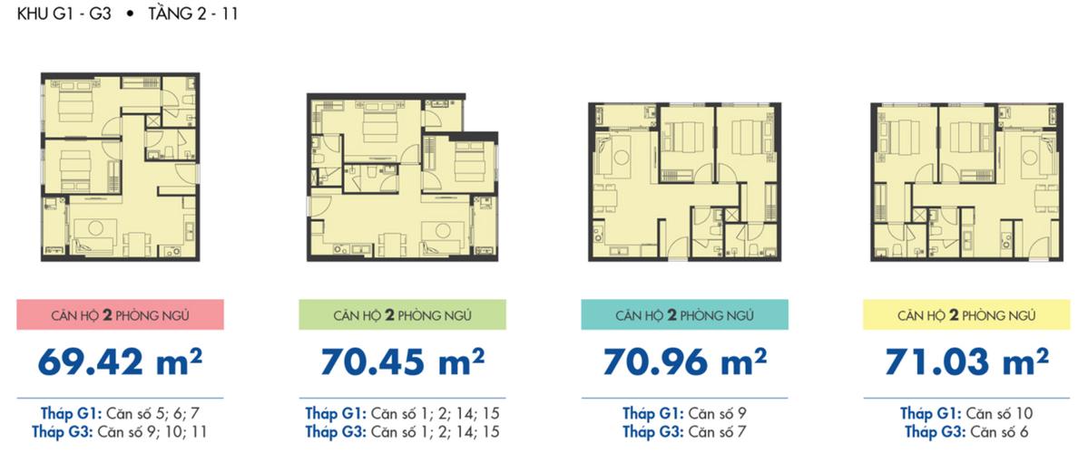 Mặt bằng căn hộ Căn hộ Sunrise Riverside tầng 3 diện tích 69.42m2, đầy đủ nội thất.