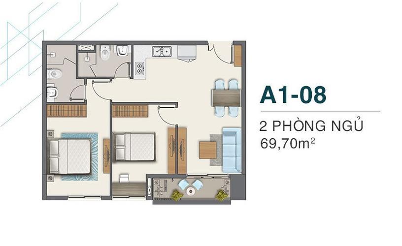 Layout Căn hộ Q7 Boulevard, Quận 7 Căn hộ Q7 Boulevard tầng 17 có 2 phòng ngủ, view đón gió thoáng mát.
