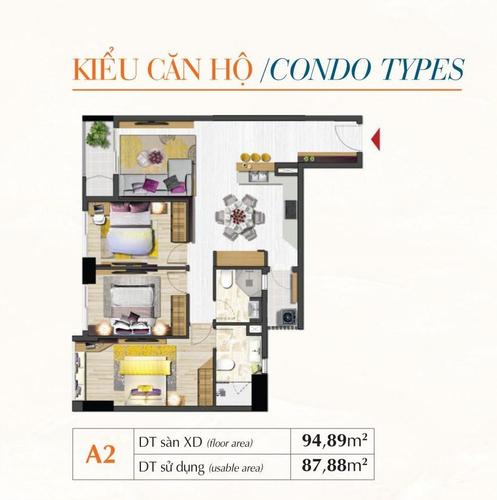 Mặt bằng căn hộ Căn hộ tầng 21 Saigon South Residence thiết kế kỹ lưỡng, đầy đủ nội thất.