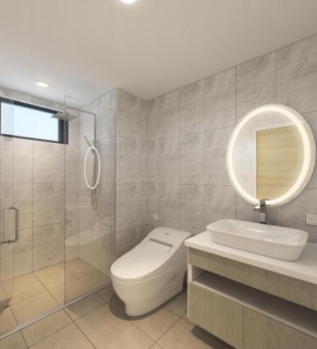 Phòng vệ sinh căn hộ Riviera Point Căn hộ Riviera Point tầng 3A sàn lót gỗ, bàn giao nội thất đầy đủ.
