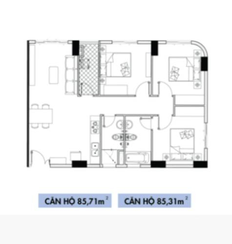 Layout căn hộ Topaz Elite, Quận 8 Căn hộ Topaz Elite tầng 7 diện tích 85m2, không có nội thất.