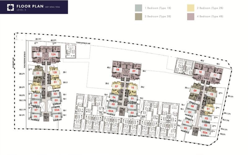 Layout tầng căn hộ The Metropole Thủ Thiêm, Quận 2 Căn hộ The Metropole tầng 3A diện tích 63.77m2, đầy đủ nội thất.