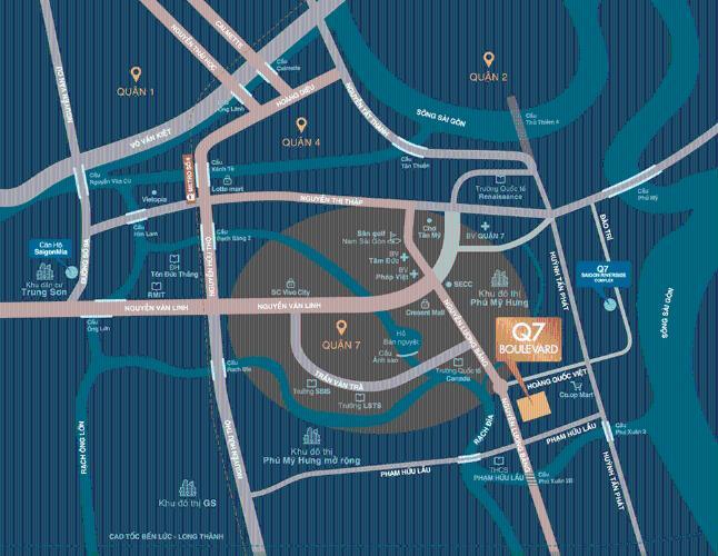 tiện ích xung quanh căn hộ Q7 Boulevard Căn hộ Q7 Boulevard nội thất cơ bản, view hồ bơi nội khu.