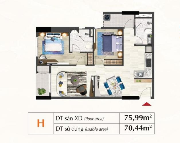 Mặt bằng căn hộ Căn hộ tầng 9 Saigon South Residence, đầy đủ nội thất và tiện ích.
