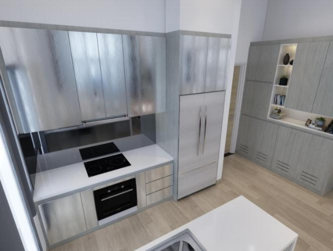 Phòng bếp căn hộ Riviera Point Căn hộ Riviera Point tầng 3A sàn lót gỗ, bàn giao nội thất đầy đủ.