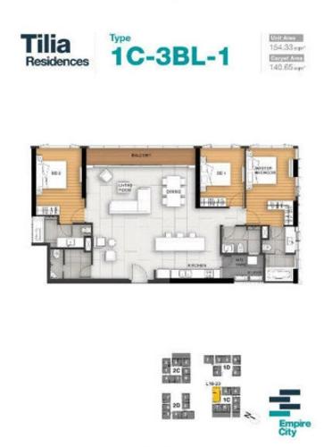 Layout căn hộ Empire City, Quận 2 Căn hộ có 3 phòng ngủ Empire City tầng 26, bàn giao nội thất cơ bản.