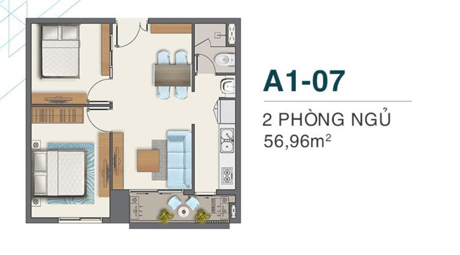 Layout Căn hộ Q7 Boulevard, Quận 7 Căn hộ Q7 Boulevard tầng 17 diện tích 56.96m2, nội thất cơ bản.