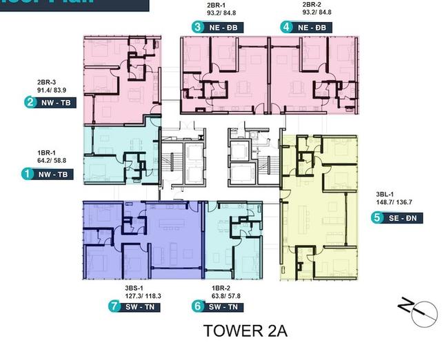 Mặt bằng chung căn hộ Empire City, Quận 2 Căn hộ Empire City tầng 32 thiết kế 3 phòng ngủ, nội thất cơ bản.