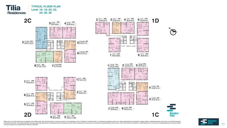Layout tầng căn hộ Empire City, Quận 2 Căn hộ Empire City tầng 24 diện tích 98m2, bàn giao nội thất cơ bản.