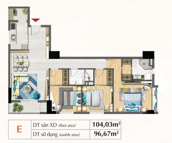 Mặt bằng căn hộ Căn hộ Saigon South Residences tầng 24 diện tích 104.03m2, đầy đủ nội thất.