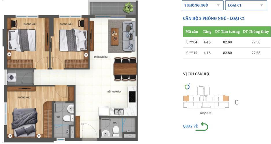 Layout căn hộ Lovera Vista, Huyện Bình Chánh Căn hộ Lovera Vista tầng 19 ban công đón gió thoáng mát, nội thất cơ bản.