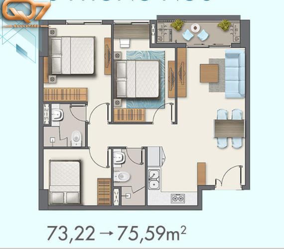 Layout Căn hộ Q7 Boulevard, Quận 7 Căn hộ Q7 Boulevard tầng 5 thiết kế 3 phòng ngủ, không có nội thất.